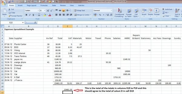Basic Bookkeeping Spreadsheet