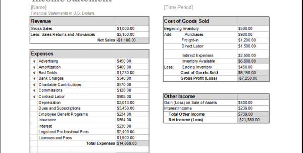 Blank Income Statement Template Excel Income Statement Template Excel Income Spreadsheet, Excel Spreadsheet Templates, Income Statement Template, Spreadsheet Templates for Business