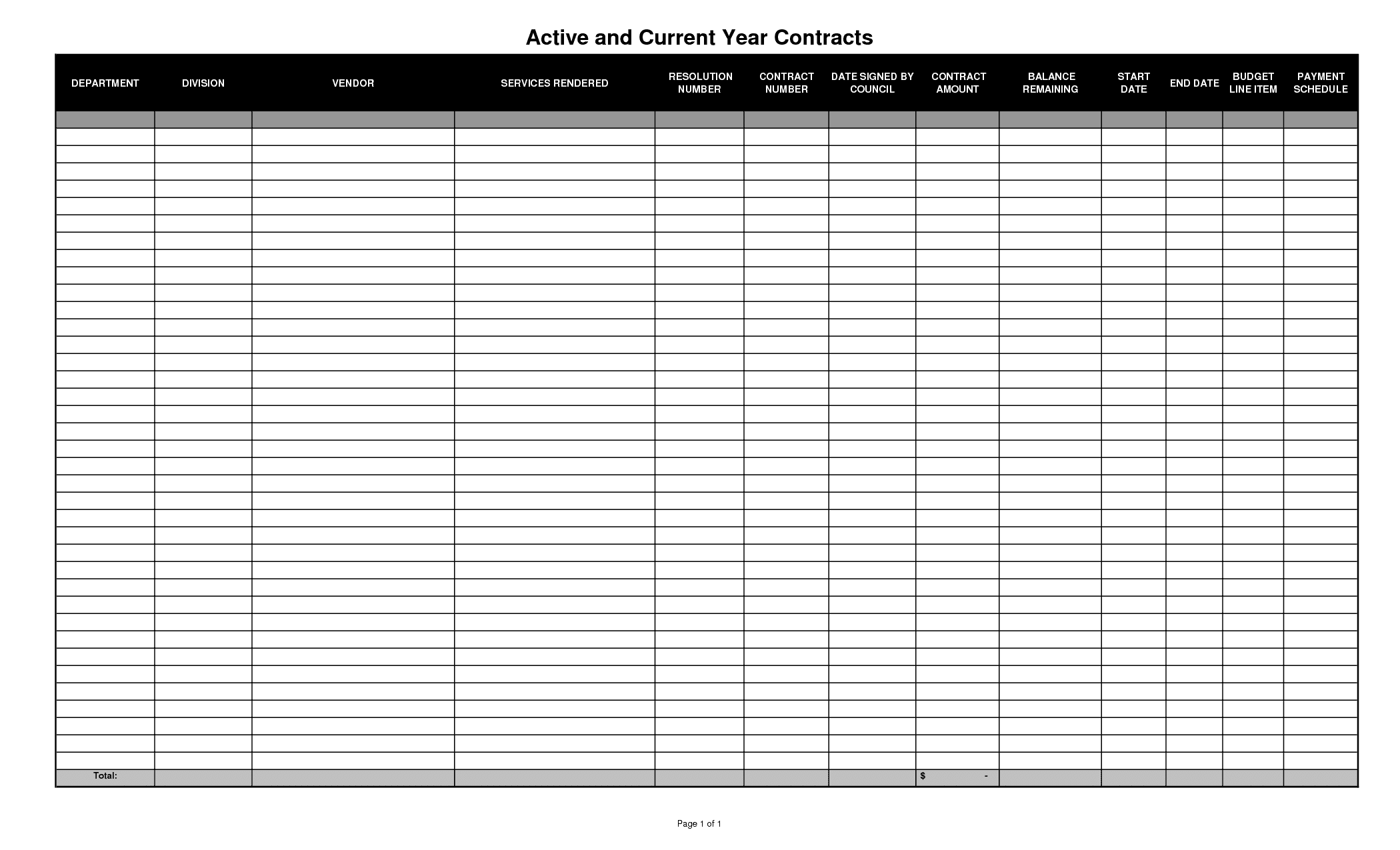 Blank Spreadsheets Printable PDF 1