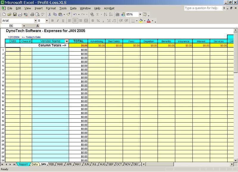 Bookkeeping Excel Spreadsheet 1