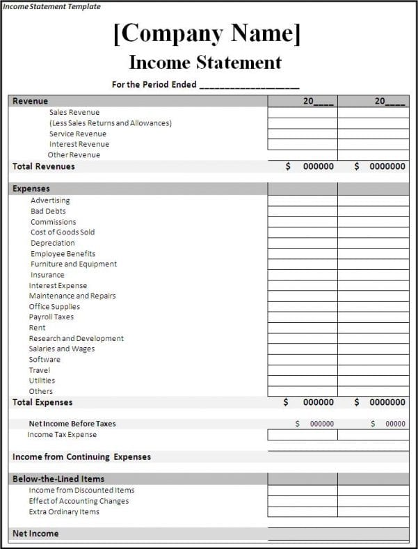Free Income And Expense Forms