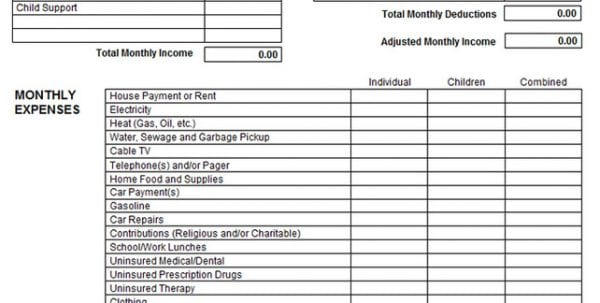 Printable Income And Expense Form
