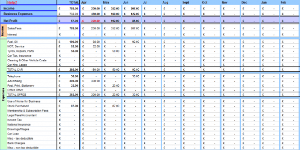 Accounting Spreadsheet Sample