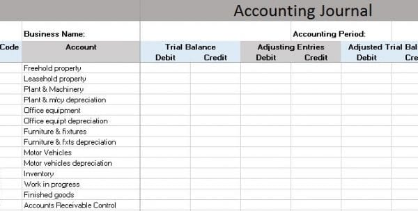 Basic Accounting Spreadsheet Excel