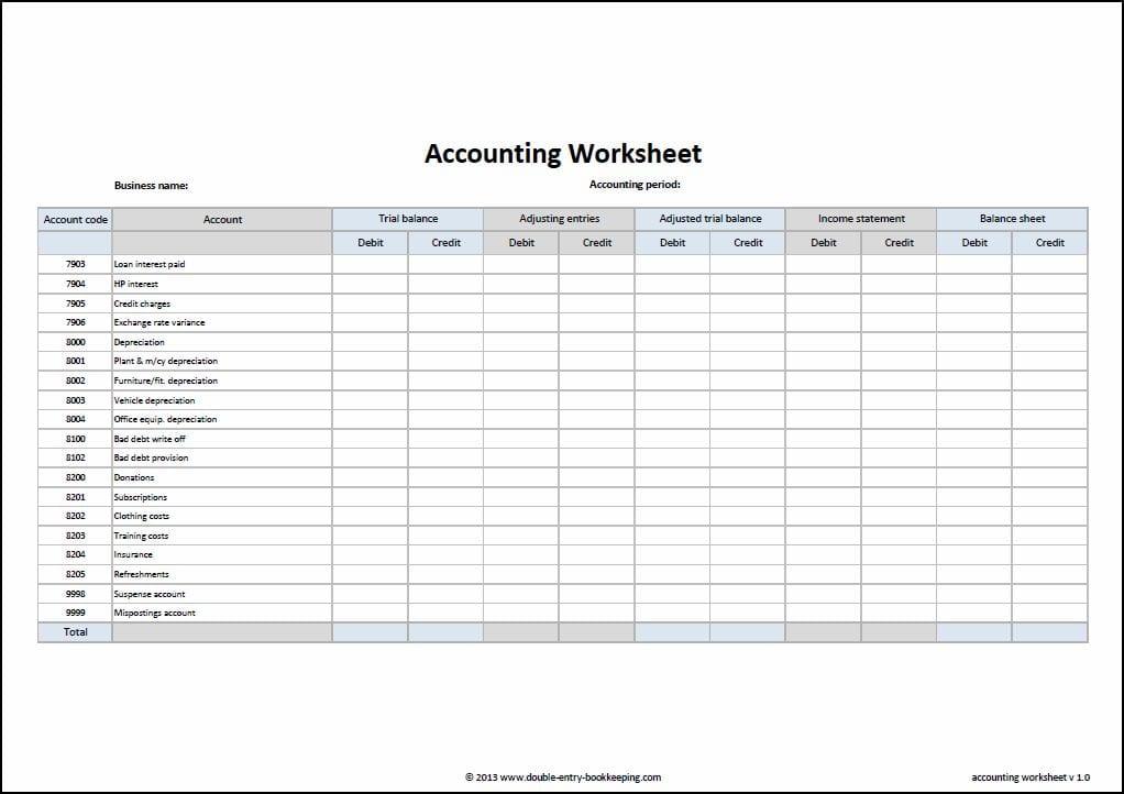Bookkeeping Spreadsheet Example