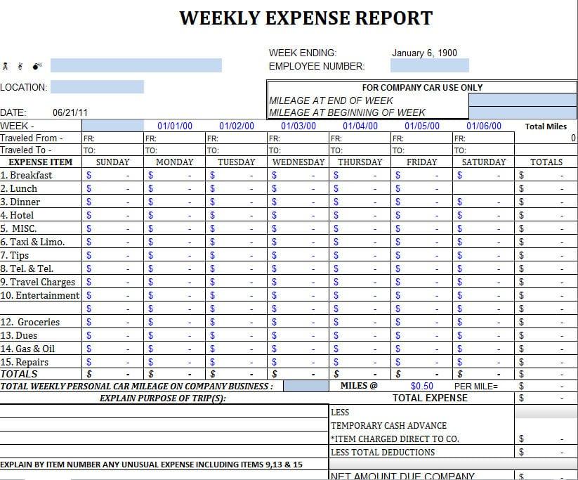 Business Expenses Template — excelxo.com