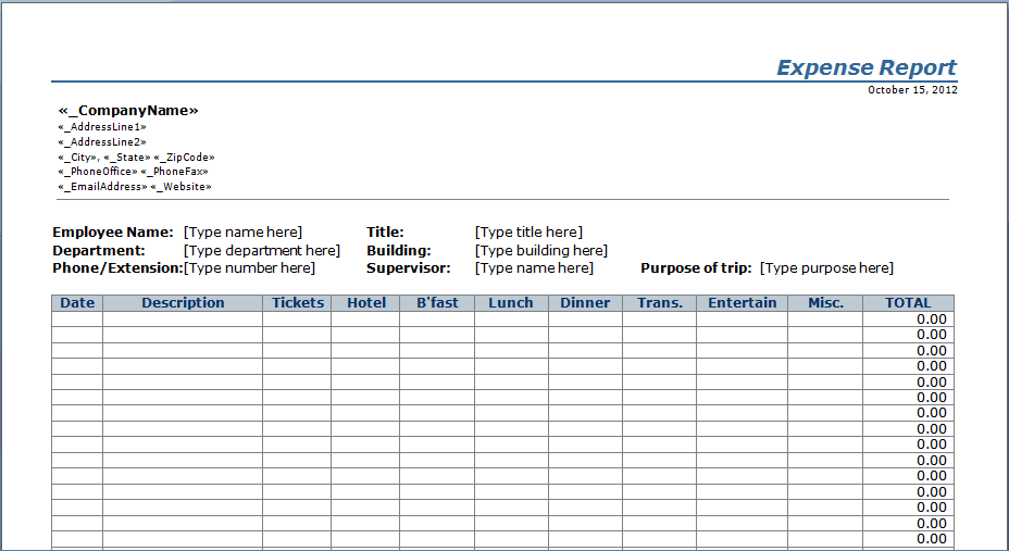 Business Expenses Template Free Download