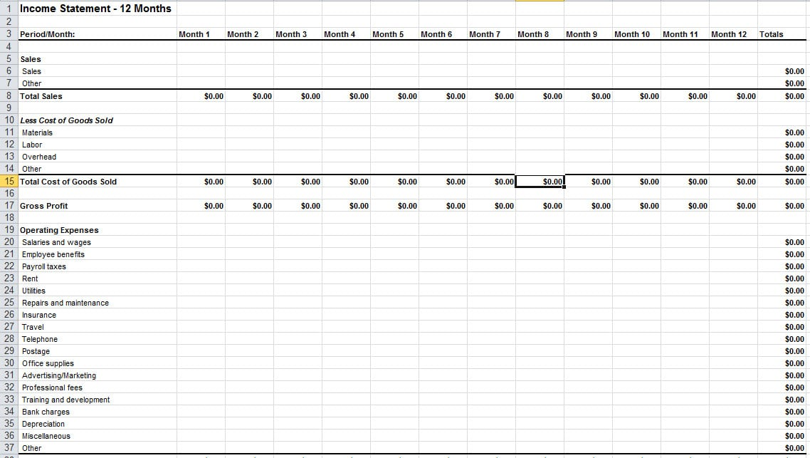 Income Statement Sample Excel