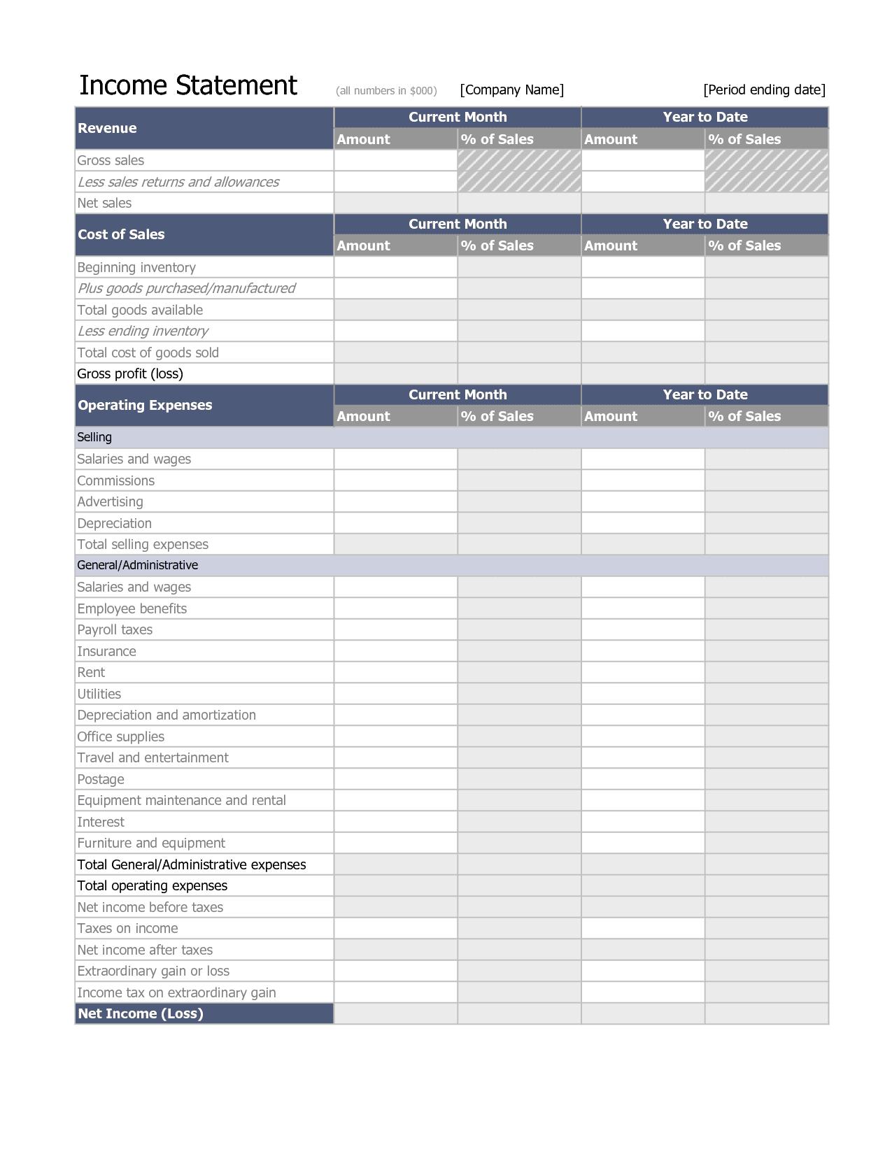 Income Statement Worksheet Excel
