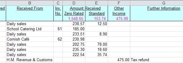 Monthly Bookkeeping Spreadsheet 2