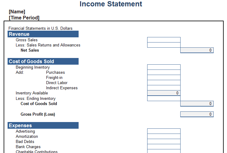 Personal Income Statement Template Excel