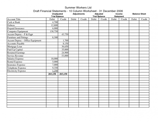 Printable Accounting Spreadsheet