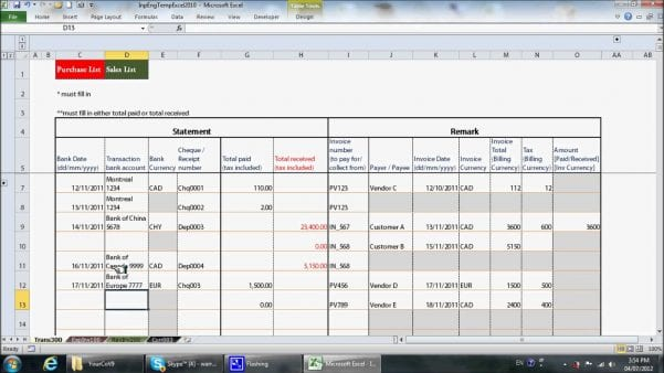 Quickbooks Excel Template