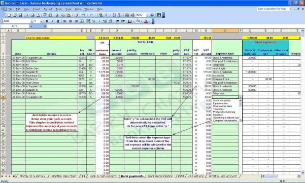 Simple Bookkeeping Sheet