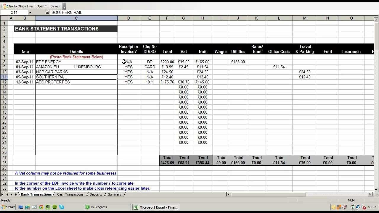 accounting spreadsheet for small business accounting
