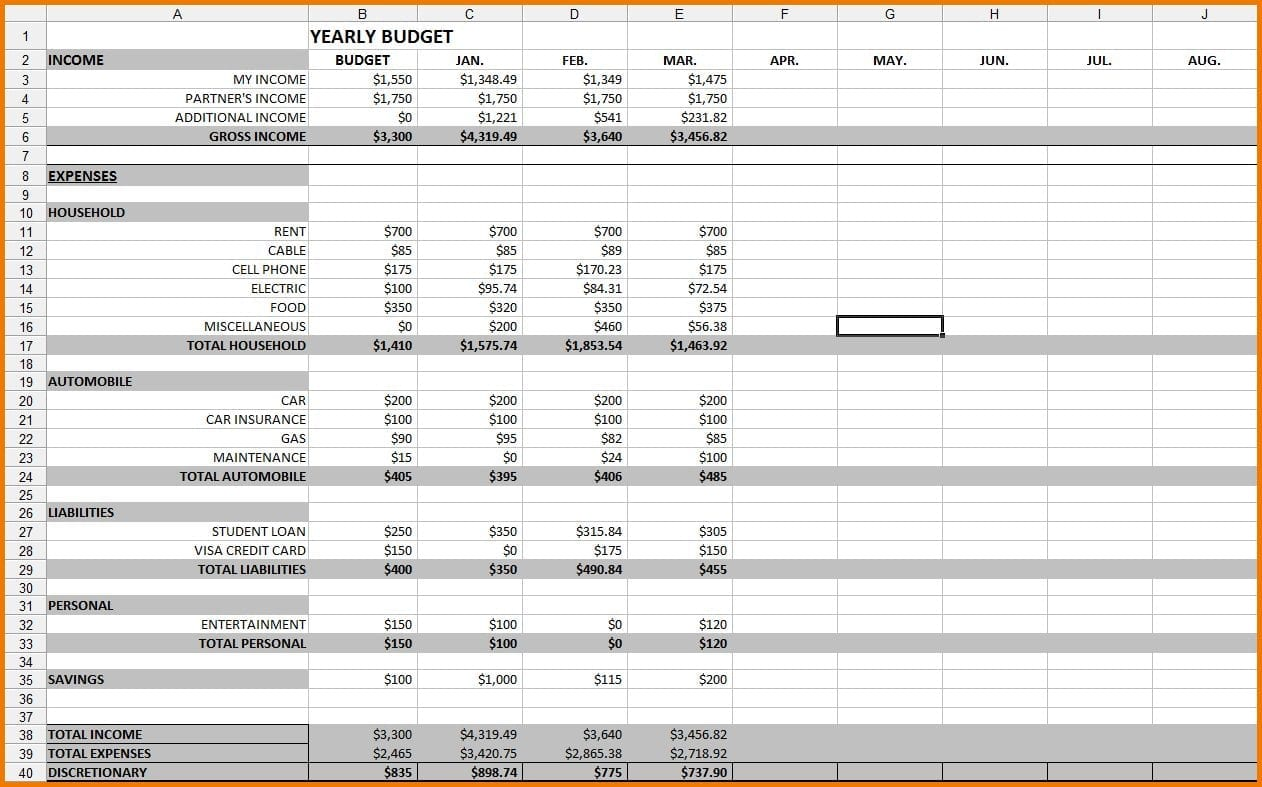 12 Month Budget Template Excel