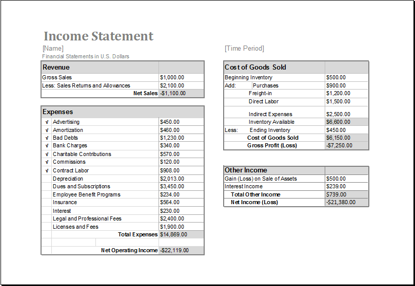 Blank Income Statement Template Excel 2