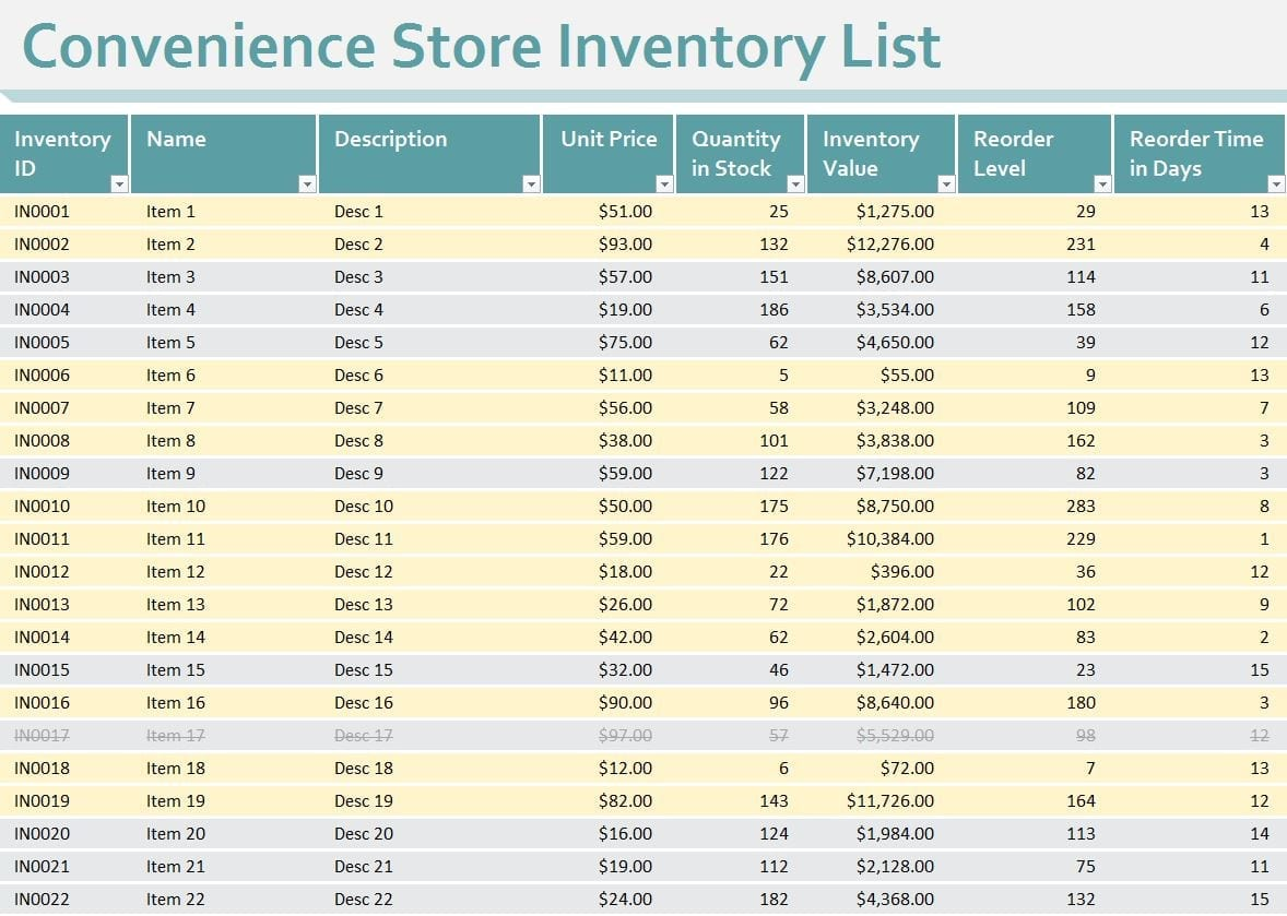 Blank Inventory Sheets To Print 1