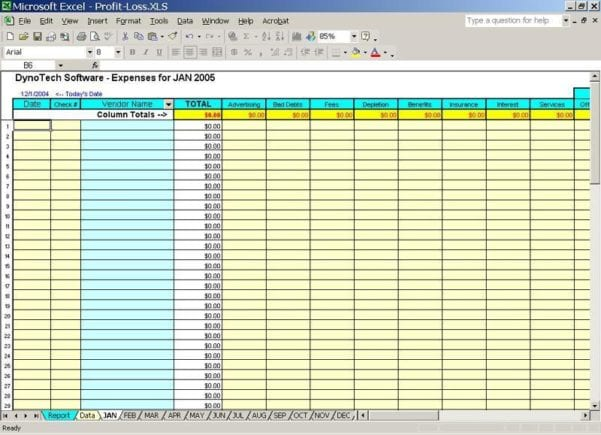 Bookkeeping Excel Spreadsheet 1