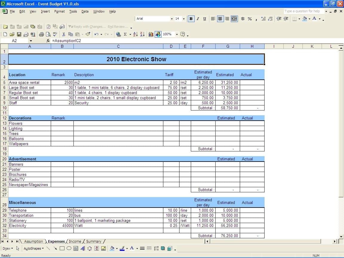 Budget Expense Report 1