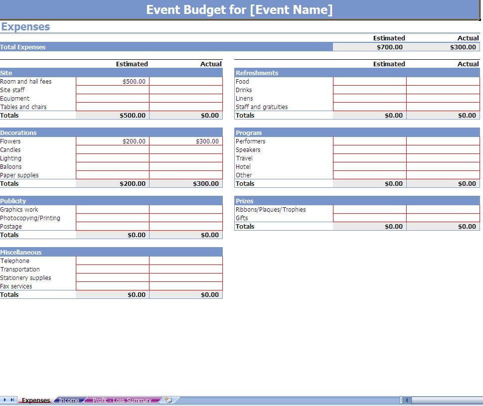 Business Expense Sheet Template