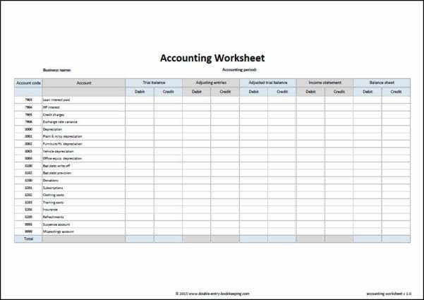 Easy Accounting Worksheets