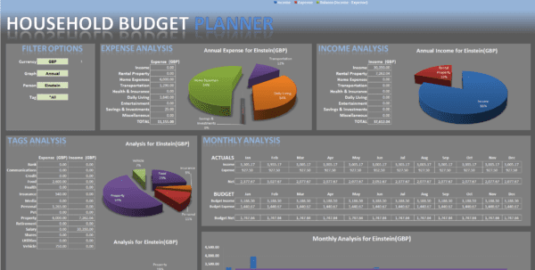 Excel budget template for household personal finance for Credit card statement template excel