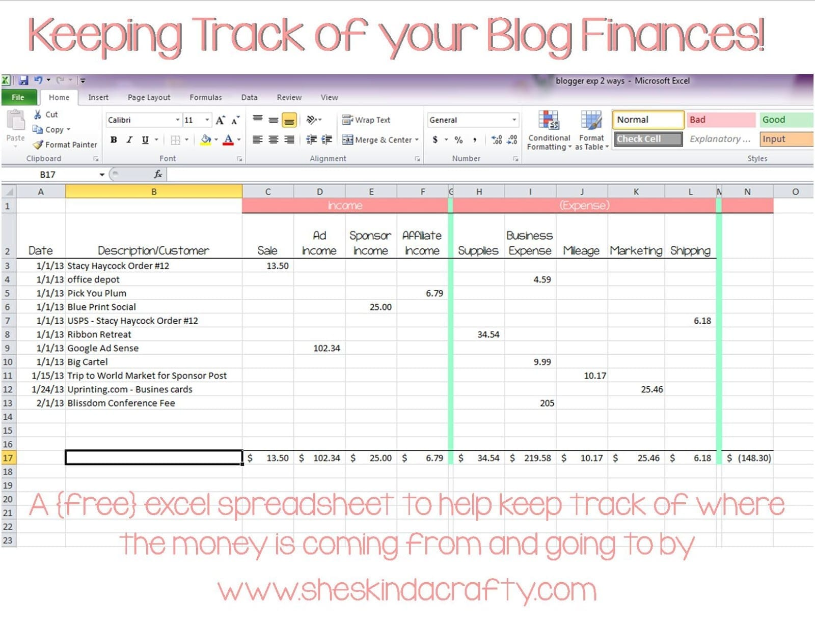 tracking sheet in excel