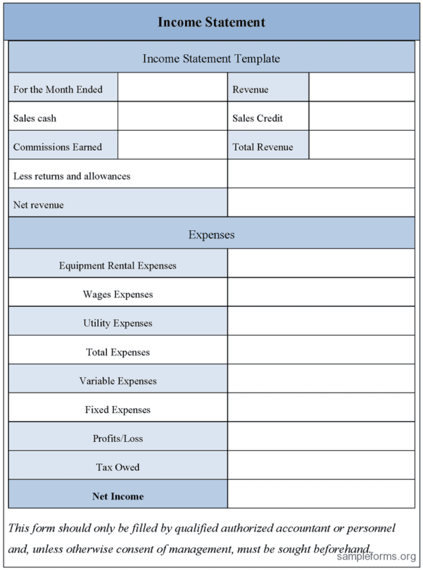 Free Excel Income Statement Template 2