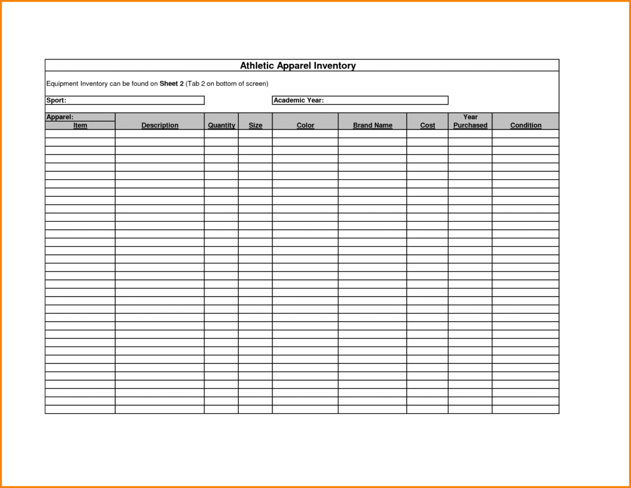 uniform inventory template - free printable inventory sheets inventory spreadsheet