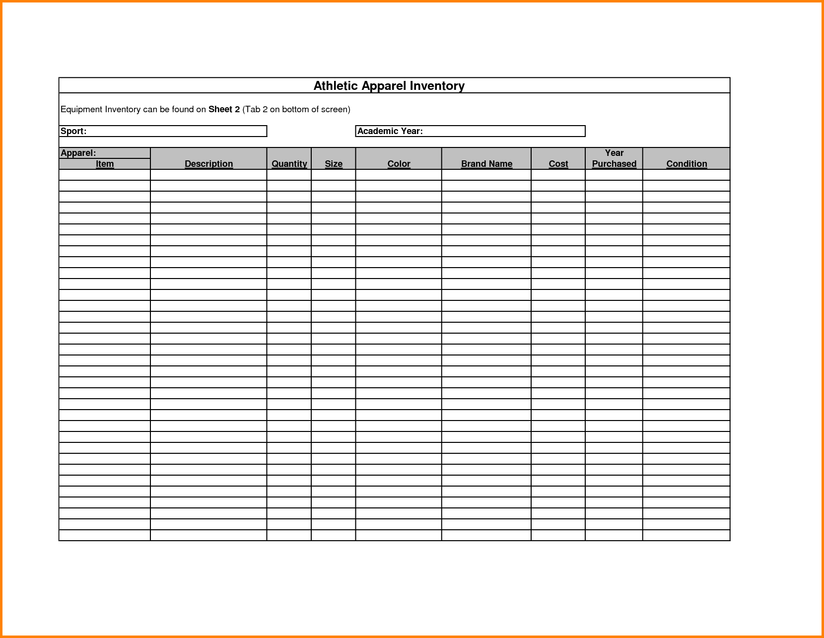 Free Printable Inventory Sheets Inventory Spreadsheet Template ...