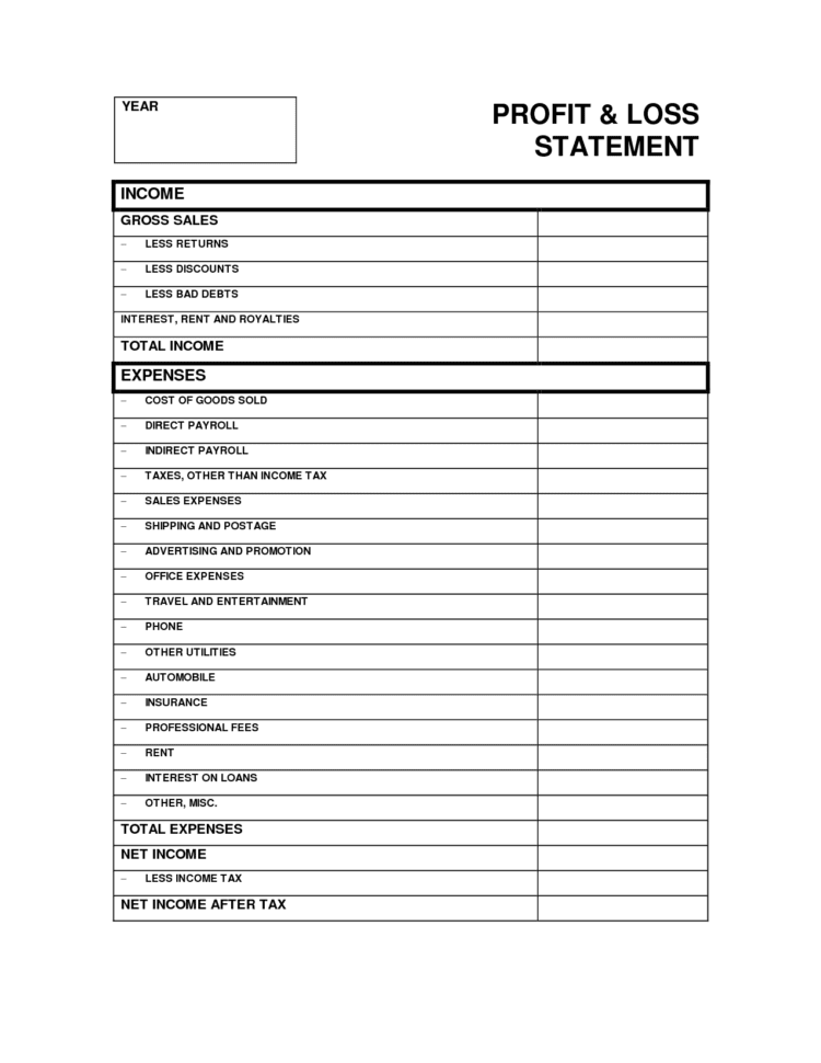Profit And Loss Statement For Self Employed