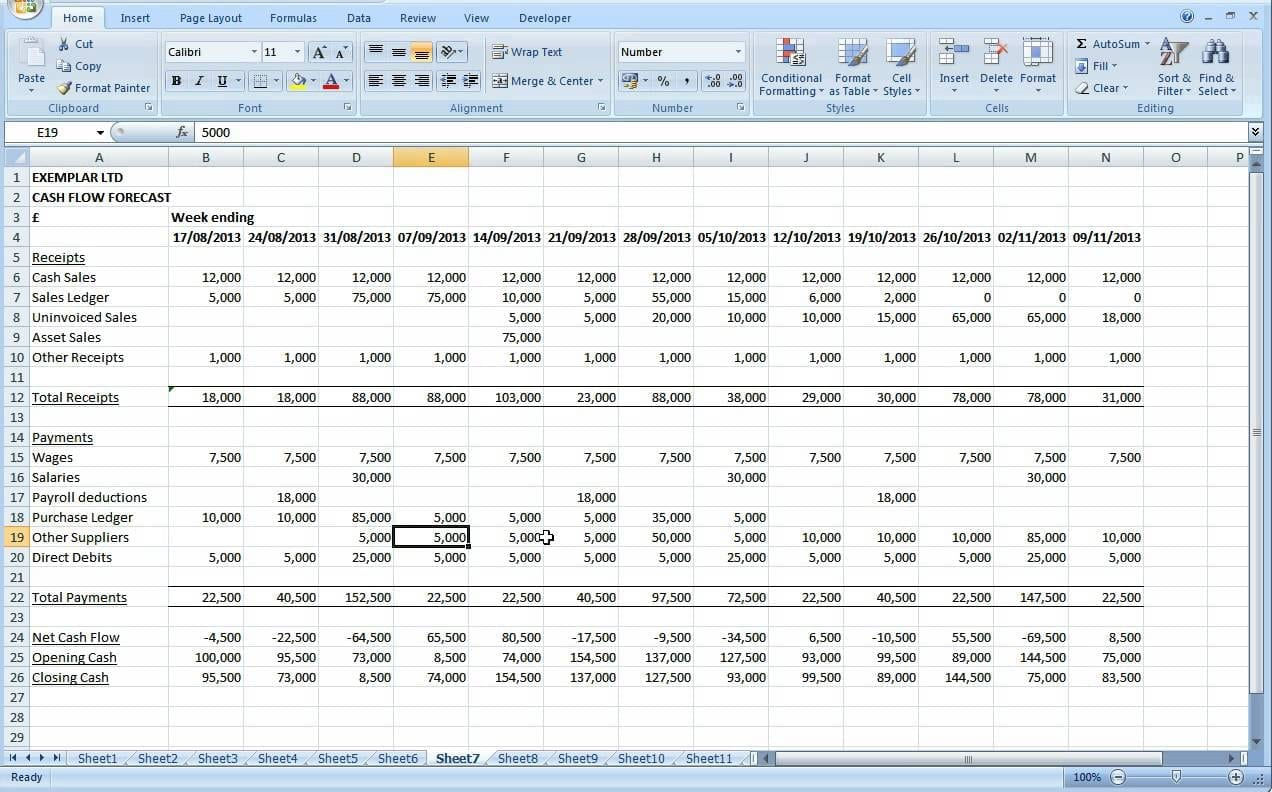 Sample Cash Flow Spreadsheet