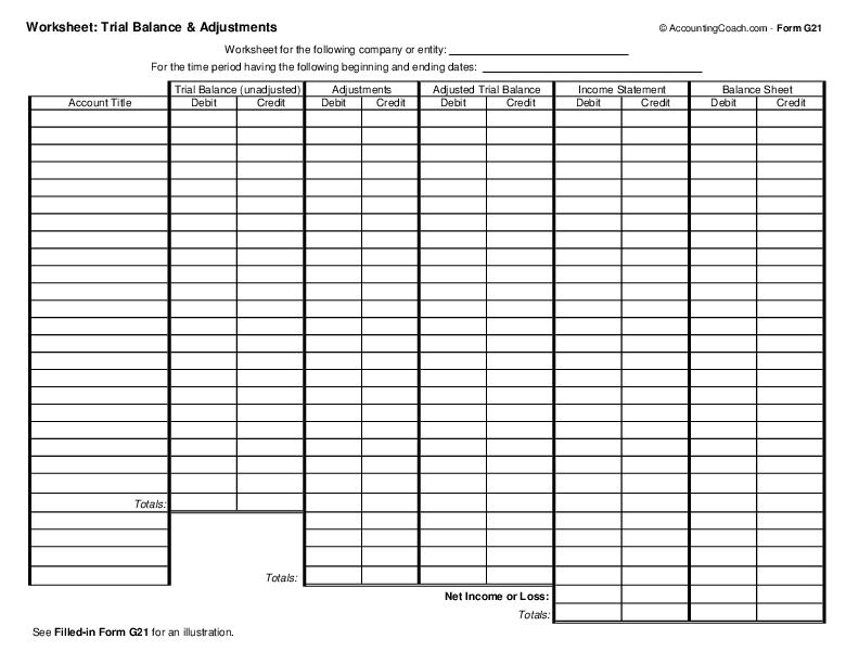 Accounting Worksheet Template Excel