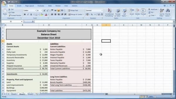 Balance Sheet Template Excel 2010