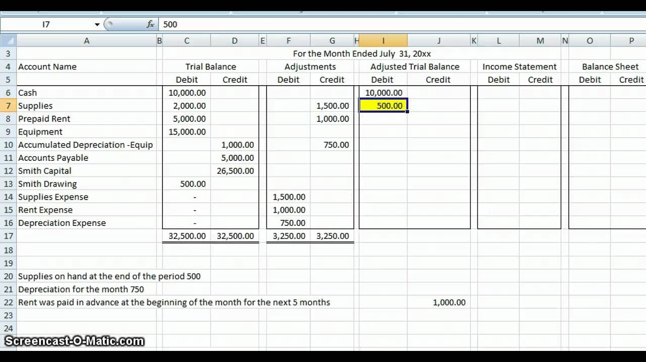 Basic Accounting Worksheet : Accounting worksheet spreadsheet