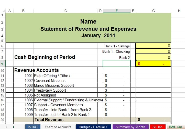 Bookkeeping Format In Excel