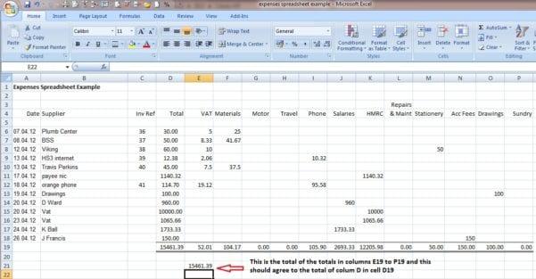 Bookkeeping Spreadsheet Template 1