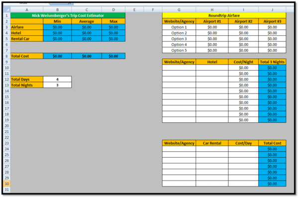 Construction Cost Estimate Template Excel