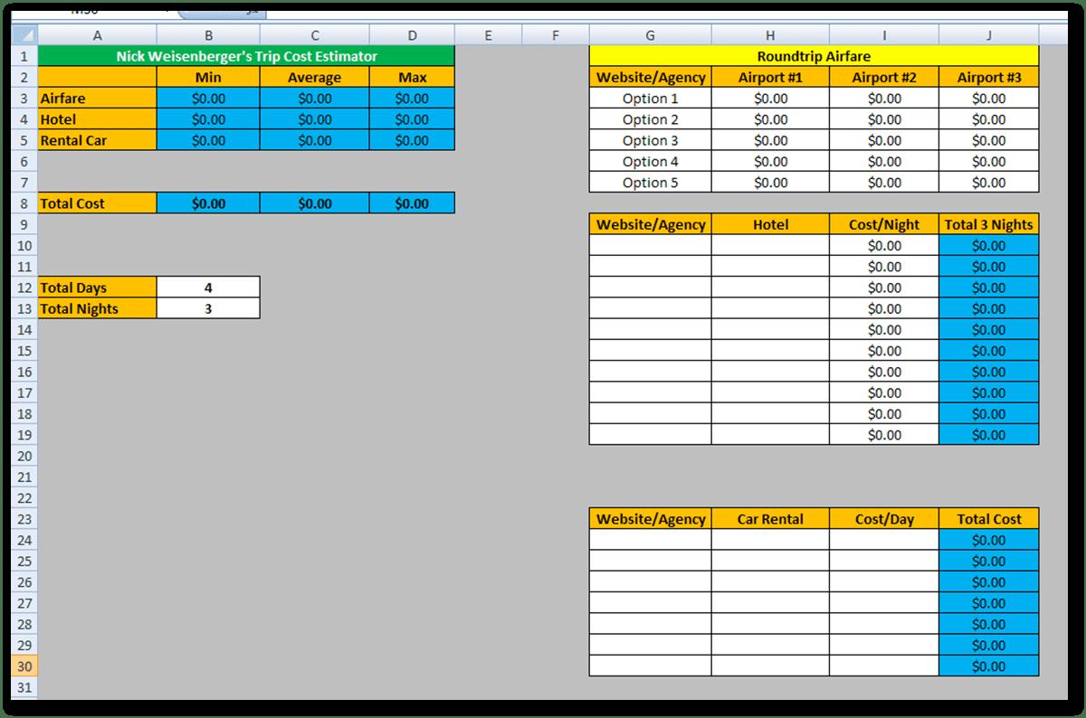 Estimating Spreadsheet Template — excelxo.com