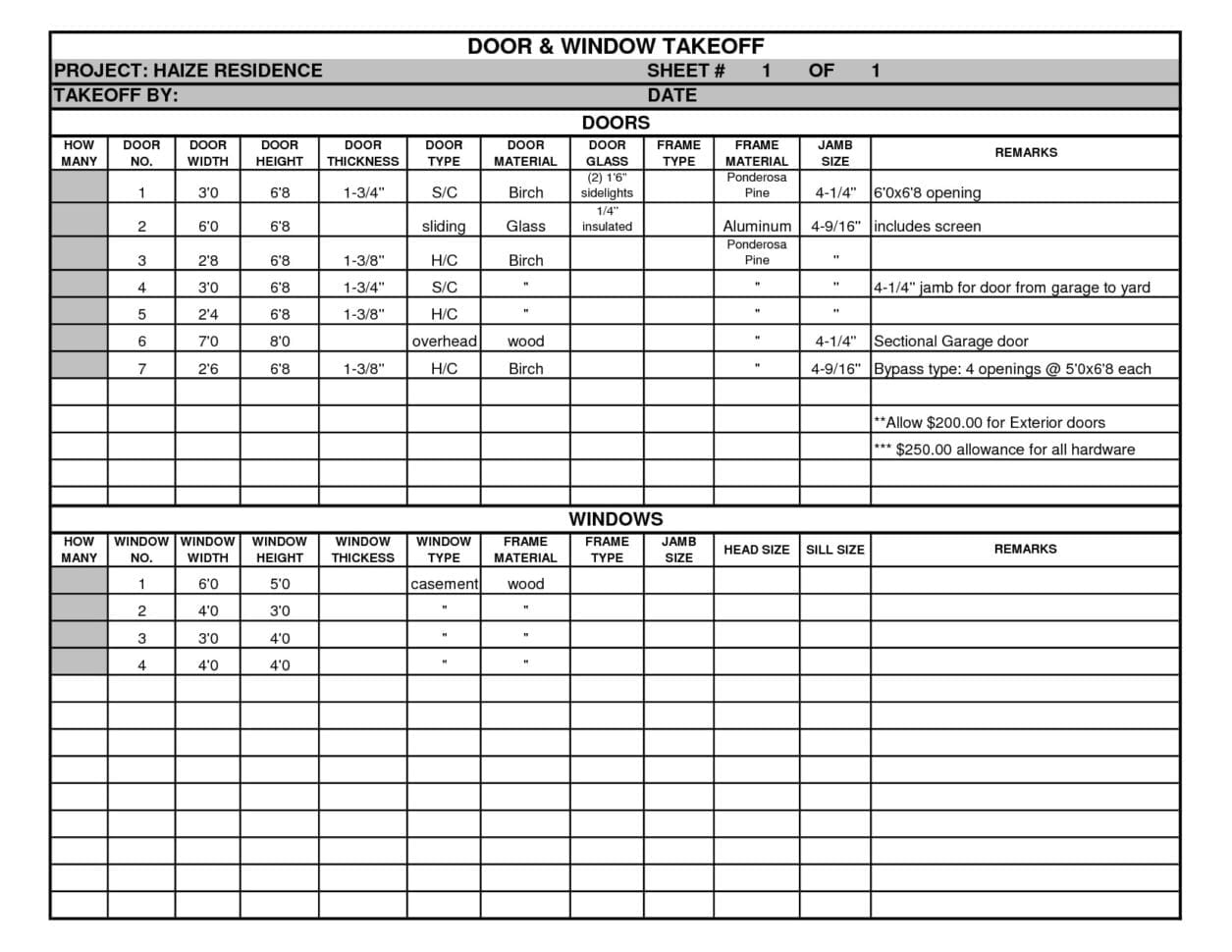 Estimating spreadsheet template spreadsheet templates for Material list for building a house spreadsheet