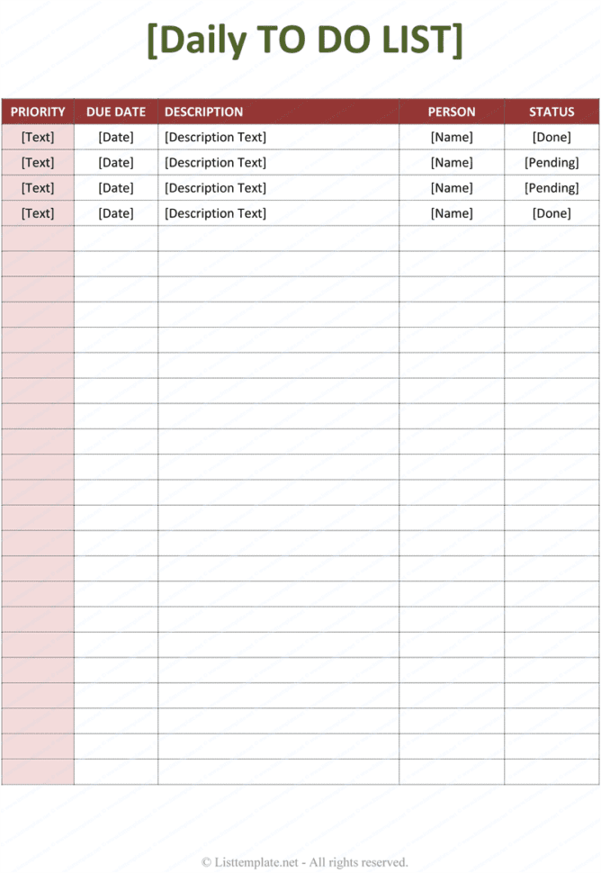 Daily Task Spreadsheet Template