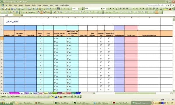 Ebay Inventory Excel Template