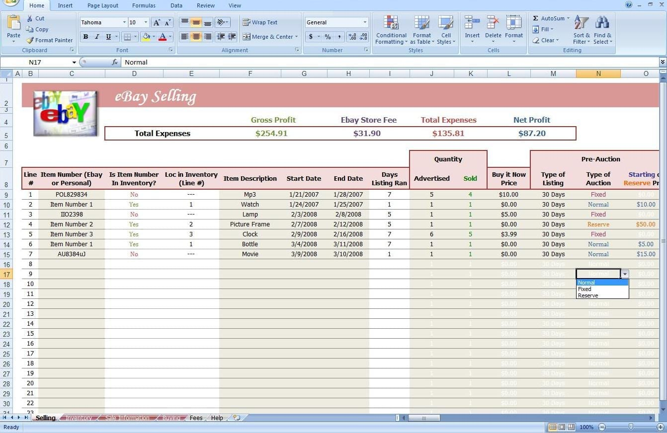 Ebay Profit And Loss Spreadsheet Ebay Spreadsheet Template