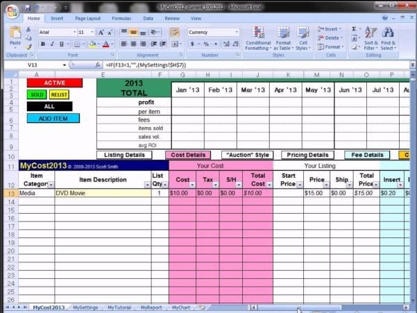 Ebay Profit Track Sales Excel Spreadsheet Ebay Spreadsheet Template Ebay Spreadsheet Spreadsheet Templates for Busines Ebay Inventory Excel Template