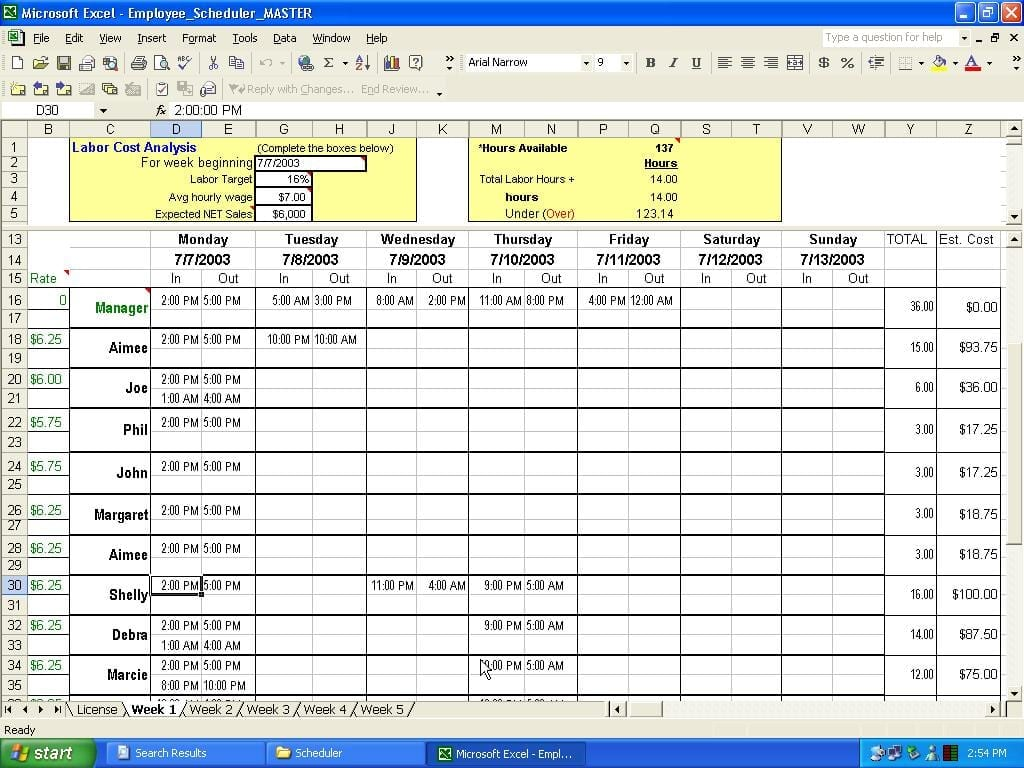 employee scheduling spreadsheet