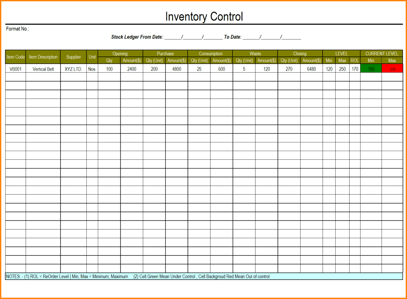 Excel Inventory Template With Formulas 1
