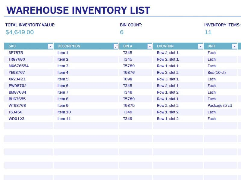 Excel Inventory Template With Formulas 3