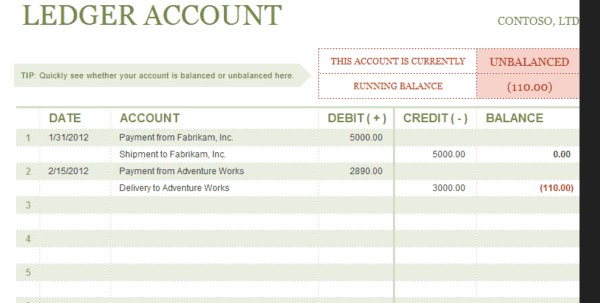 Excel Ledger Template With Debits And Credits Excel Accounting – Accounting Ledgers Templates