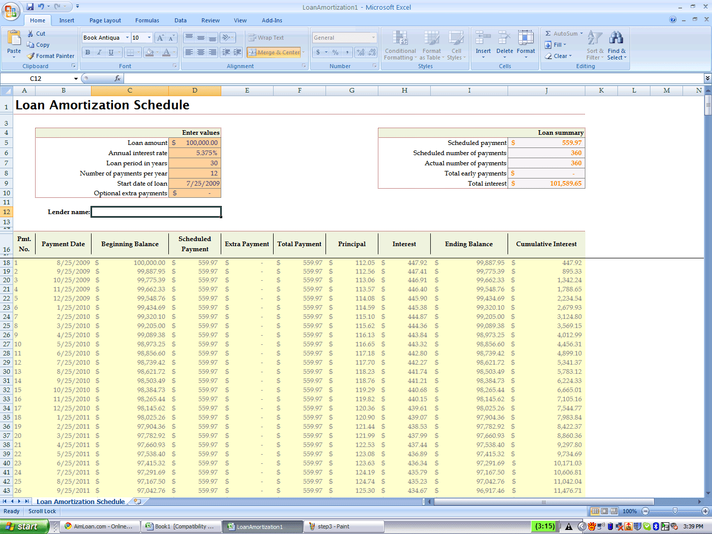 excel amortization schedule template - Ideal.vistalist.co